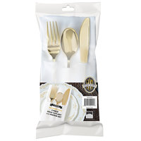 Fineline 7634 Golden Secrets 7 1/2 inch x 4 1/2 inch Heavy Weight Gold Plastic Cutlery Set with White Pocket Fold Napkin   - 70/Case