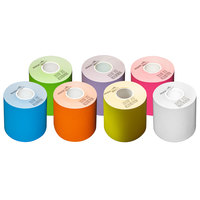 3 1/8 inch x 160' Color Pack Side-Edge Adhesive Sticky Media Linerless Receipt Paper / Label Roll - 28/Case