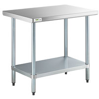Regency 24 inch x 36 inch 18-Gauge 304 Stainless Steel Commercial Work Table with Galvanized Legs and Undershelf
