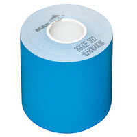 3 1/8 inch x 160' Blue Side-Edge Adhesive Sticky Media Linerless Receipt Paper / Label Roll - 24/Case