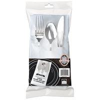 Fineline 734 Silver Secrets 7 1/2 inch x 4 1/2 inch Heavy Weight Silver Plastic Cutlery Set with White Pocket Fold Napkin   - 100/Case