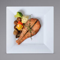 Fineline Settings 1609-WH Solid Squares 9 1/2 inch White Square Dinner Plate - 120/Case