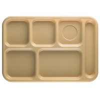 Cambro 10146CW133 Camwear 10 inch x 14 1/2 inch Beige 6 Compartment Serving Tray - 24/Case