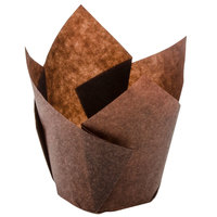 Hoffmaster 611101 2 inch x 3 1/2 inch Chocolate Brown Tulip Baking Cups - 250/Pack
