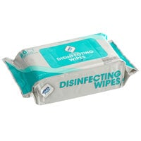WipesPlus 80 Count Lemon Scent Alcohol Free Single Use Disinfecting Wipes   - 12/Case