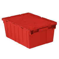 Orbis FP143 21 inch x 15 inch x 9 inch Stack-N-Nest Flipak Red Tote Box with Hinged Lockable Lid and Pin