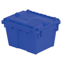 Orbis FP03 12 inch x 10 inch x 7 inch Stack-N-Nest Flipak Dark Blue Tote Box with Hinged Lockable Lid