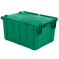 Orbis FP03 12 inch x 10 inch x 7 inch Stack-N-Nest Flipak Green Tote Box with Hinged Lockable Lid