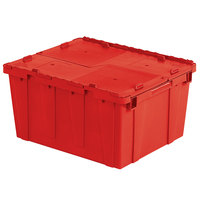 Orbis FP261 24 inch x 20 inch x 13 inch Stack-N-Nest Flipak Red Tote Box with Hinged Lockable Lid