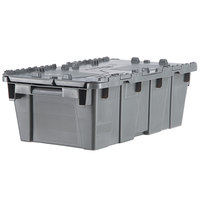 Orbis FP075 20 inch x 12 inch x 8 inch Stack-N-Nest Flipak Gray Tote Box with Hinged Lockable Lid