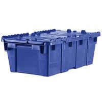 Orbis FP075 20 inch x 12 inch x 8 inch Stack-N-Nest Flipak Dark Blue Tote Box with Hinged Lockable Lid
