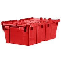 Orbis FP075 20 inch x 12 inch x 8 inch Stack-N-Nest Flipak Red Tote Box with Hinged Lockable Lid