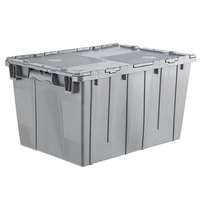 Orbis FP171 22 inch x 15 inch x 12 inch Stack-N-Nest Flipak Gray Tote Box with Hinged Lockable Lid and Pin