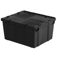 Orbis FP261 24 inch x 20 inch x 13 inch Stack-N-Nest Flipak Black Tote Box with Hinged Lockable Lid