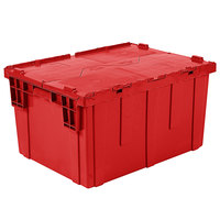 Orbis FP403 28 inch x 20 inch x 15 inch Stack-N-Nest Flipak Red Tote Box with Hinged Lockable Lid