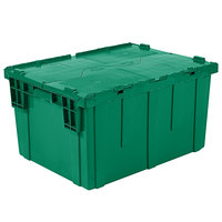 Orbis FP403 28 inch x 20 inch x 15 inch Stack-N-Nest Flipak Green Tote Box with Hinged Lockable Lid