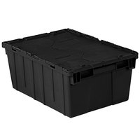 Orbis FP143 21 inch x 15 inch x 9 inch Stack-N-Nest Flipak Black Tote Box with Hinged Lockable Lid and Pin
