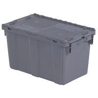 Orbis FP151 22 inch x 13 inch x 13 inch Stack-N-Nest Flipak Gray Tote Box with Hinged Lockable Lid