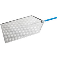 GI Metal AM-4060F Azzurra 16 inch x 24 inch Anodized Aluminum Rectangular Perforated Pizza Peel with 47 inch Handle