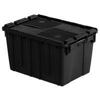 Orbis FP182 22 inch x 15 inch x 13 inch Stack-N-Nest Flipak Black Tote Box with Hinged Lockable Lid and Pin