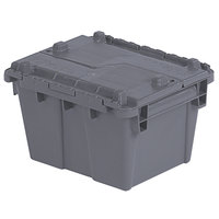 Orbis FP03 12 inch x 10 inch x 7 inch Stack-N-Nest Flipak Gray Tote Box with Hinged Lockable Lid