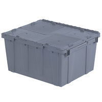 Orbis FP261 24 inch x 20 inch x 13 inch Stack-N-Nest Flipak Gray Tote Box with Hinged Lockable Lid