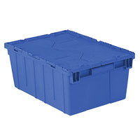 Orbis FP143 21 inch x 15 inch x 9 inch Stack-N-Nest Flipak Dark Blue Tote Box with Hinged Lockable Lid and Pin