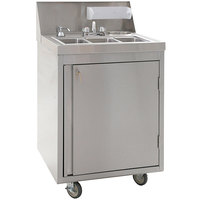 Eagle Group PHS-S3-H 26 inch Stainless Steel Three Compartment Hot / Cold Water Portable Sink