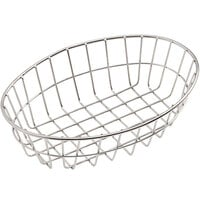 American Metalcraft GOVS69 Stainless Steel Oblong Wire Basket - 6 inch x 2 1/2 inch