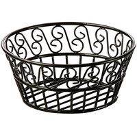 American Metalcraft BLSB93 Ironworks Black Wrought Iron Round Scroll Bread Basket - 9 inch x 3 5/8 inch