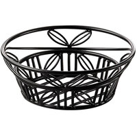 American Metalcraft BLLB81 Ironworks Black Wrought Iron Bread Round Leaf Basket - 8 inch x 3 inch