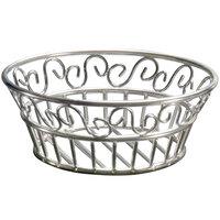 American Metalcraft SSLB83 Ironworks Stainless Steel Round Scroll Bread Basket - 8 inch x 3 inch