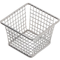 American Metalcraft FBSS44 4 inch x 3 inch x 3 inch Stainless Steel Square Mini Fry Basket