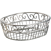 American Metalcraft SSOC97 Ironworks Stainless Steel Oblong Wire Scroll Basket - 9 inch x 6 3/4 inch x 3 inch