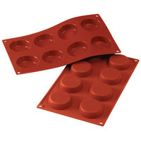 Silikomart SF045 SiliconFLEX 8 Compartment Flan Silicone Baking Mold - 2 3/8 inch x 2 3/8 inch x 11/16 inch Cavities