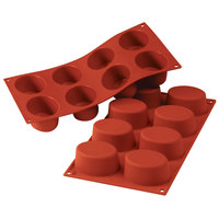 Silikomart SF055 SiliconFLEX 8 Compartment Big Ovals Silicone Baking Mold - 2 15/16 inch x 2 3/16 inch x 1 3/8 inch Cavities