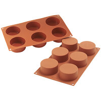 Silikomart SF127 SiliconFLEX 6 Compartment Cylinders Silicone Baking Mold - 2 3/4 inch x 2 3/4 inch x 1 3/8 inch Cavities