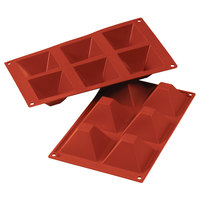 Silikomart SF007 SiliconFLEX 6 Compartment Pyramids Silicone Baking Mold - 2 13/16 inch x 2 13/16 inch x 1 9/16 inch Cavities