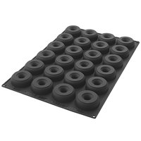 Silikomart SQ059 24 Compartment Donuts Silicone Baking Mold - 3 5/16 inch x 3 5/16 inch x 1 1/8 inch Cavities