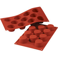 Silikomart SF022 SiliconFLEX 11 Compartment Small Muffins Silicone Baking Mold - 2 inch x 2 inch x 1 1/8 inch Cavities