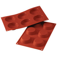 Silikomart SF016 SiliconFLEX 6 Compartment Tartelettes Silicone Baking Mold - 2 3/4 inch x 2 3/4 inch x 13/16 inch Cavities