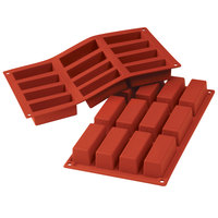Silikomart SF026 SiliconFLEX 12 Compartment Cakes Silicone Baking Mold - 3 1/8 inch x 1 1/8 inch x 1 3/16 inch Cavities