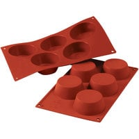 Silikomart SF024 SiliconFLEX 5 Compartment Big Muffins Silicone Baking Mold - 3 3/16 inch x 3 3/16 inch x 1 1/4 inch Cavities