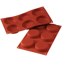 Silikomart SF047 SiliconFLEX 6 Compartment Flan Silicone Baking Mold - 3 1/8 inch x 3 1/8 inch x 11/16 inch Cavities