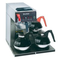 Bunn CWTF-DV Automatic 12 Cup Coffee Brewer with 3 Lower Warmers - Stainless Steel Funnel Dual Voltage (12950.0409)