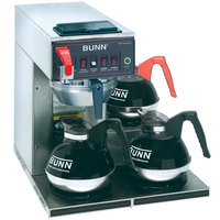 Bunn 12950.0409 CWTF-DV Automatic 12 Cup Coffee Brewer with 3 Lower Warmers and Stainless Steel Funnel - Dual Voltage