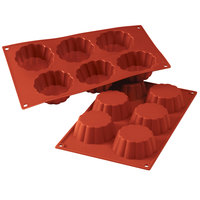 Silikomart SF035 SiliconFLEX 6 Compartment Briochettes Silicone Baking Mold - 3 1/8 inch x 3 1/8 inch x 1 3/16 inch Cavities