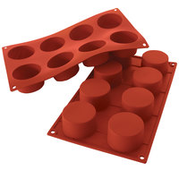 Silikomart SF028 SiliconFLEX 8 Compartment Cylinders Silicone Baking Mold - 2 3/8 inch x 2 3/8 inch x 1 3/8 inch Cavities