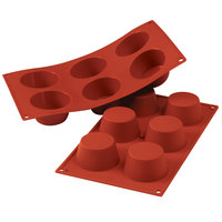 Silikomart SF023 SiliconFLEX 6 Compartment Medium Muffins Silicone Baking Mold - 2 3/4 inch x 2 3/4 inch x 1 3/8 inch Cavities