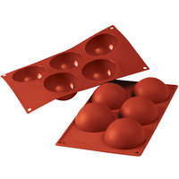 Silikomart SF001 SiliconFLEX 5 Compartment Half Spheres Silicone Baking Mold - 3 1/8 inch x 3 1/8 inch x 1 9/16 inch Cavities